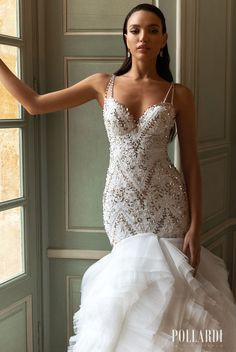 Sparkly glamorous mermaid wedding dress with trumpet layered skirt and drop waist sparkling bodice with sweetheart neckline and open back | Pollardi Wedding Dresses 2021 Royalty Collection - Belle The Magazine #weddingdress #weddingdresses #bridalgown #bridal #bridalgowns #weddinggown #bridetobe #weddings #bride #dreamdress #bridalcollection #bridaldress #dress See more gorgeous bridal gowns by clicking on the photo