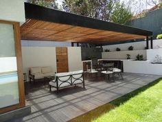 Pergola Attached To House Plans Key: 4341734874 Indoor Outdoor Living, Outdoor Areas, Outdoor Rooms, Outdoor Decor, Patio Roof, Backyard Patio, Townhouse Garden, Terrasse Design, Outside Living