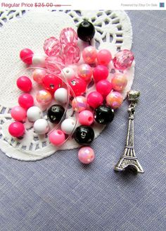 SALE Paris eiffel tower girly inspired pink black by buysomelove