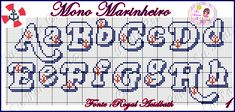 Su Ponto X: Monograma Marinheiro Cross Stitch Letters, Cross Stitch Boards, Alphabet And Numbers, Stitch Design, Stitch Patterns, Crochet, Bullet Journal, Lettering, Beads
