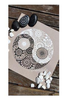 Ying Yang Intricate black and white mandala by KiahK2Designs