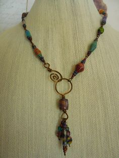 Paper Bead Necklace with Spiral Clasp 3 by NewCroneCraftworks
