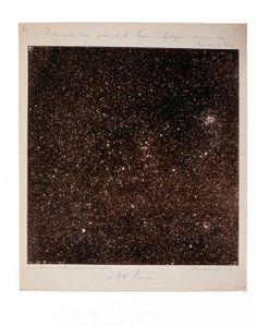 fig. 2 - Carte photographique du ciel, vue d'une portion de la région écliptique obtenue le 26 janvier 1894 à l'Observatoire de Paris, Prosper et Paul Henry. Épreuve positive sur papier albuminé.Inv. TG3888-1.