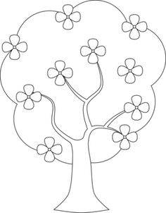Tree With Blossom Free Digital Stamp Printable Flower Coloring Pages, Preschool Coloring Pages, Pattern Coloring Pages, Coloring Pages For Kids, Paper Flowers Craft, Flower Crafts, Paper Crafts, Hand Embroidery Designs, Embroidery Patterns