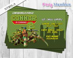 TMNT Invitations, Ninja Turtles Invite for Teenage Mutant Ninja Turtles Birthday Invites - DIY PRINTABLE