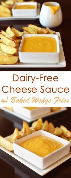 Dairy Free Cheese Sauce with Baby Potato Wedges Recipe Dairy Free Cheese Sauce Recipe with Baked Baby Wedge Fries Recipe - all vegan, plant-based, gluten-free, soy-free and nutritious ad Dairy Free Cheese, Dairy Free Diet, Vegan Cheese, Vegan Gluten Free, Baked Cheese, Vegan Sauces, Vegan Foods, Vegan Lunches, Vegan Dinners