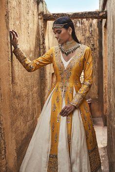 white and yellow lehenga, white and yellow outfit, mehendi outfit, lehenga with…