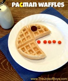 These Pacman waffles make me nostalgic for my childhood!  And look how easy they are to make.  You could make them with fruit instead of candy as well.