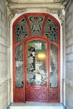 Stained Glass Art Nouveau Door