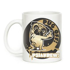 Mug with pug dog, Pug off, mops, carlin by PSIAKREW on Etsy
