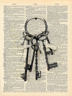 "Vintage Book Art Print ""Skeleton Keys"" Upcycled Recycled Antique Book Print - Fairy Tale Victorian Key - Secret Garden. $10.00, via Etsy."