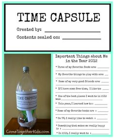 Creating a family time capsule - great tips and a free printable. Kids love this and it's a perfect New Year's activity.