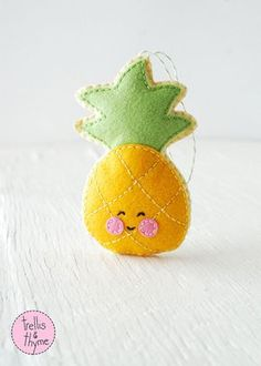 PDF Pattern - Little Pineapple Felt Sewing Pattern, Winter Holiday Felt Ornament Pattern, Christmas Ornament, Food Softie Pattern