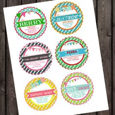 girls camp awards tags 28 different adorable by AmysSimpleDesigns