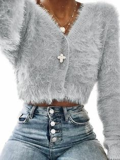 2018 New Fashion Women Long Sleeve Cropped Mohair Sweater Elegant V neck Single Button Knitted Sweater Casual Autumn Outwear New Fashion, Autumn Fashion, Fashion Outfits, Womens Fashion, Fashion Trends, Style Fashion, Fashion Lookbook, Cheap Fashion, Fashion 2017