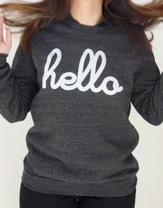 """Sweat femme / homme NOIR """"hello"""" ♥ Hello apparel / www.dansunpetitvillage.com"""