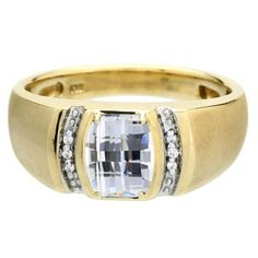 Men's Barrel-Cut White Topaz Stone Diamond Custom Finger Yellow Gold Ring #Christmas 2016 #Jewelry #Personalized #Unique #Simple #Gifts @ Gemologica.com #Xmas #Gift guide finder ideas for #Him #Her #Kids #Jewellery #couponcode #deals #sale Stocking Stuffer #Ideas. #Presents for girlfriends, boyfriends, children, men, women from the #Gemologica Jewelry Store. #Earrings #Rings #Necklaces #Bracelets #Gold #Silver #Fashion #Style