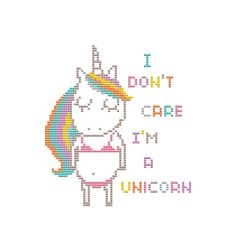 PDF cross stitch pattern, modern cross stitch, counted cross stitch chart, unicorn cross stitch, funny unicorn pattern, rainbow unicorn by PolarisStudioDesign on Etsy https://www.etsy.com/listing/528857347/pdf-cross-stitch-pattern-modern-cross