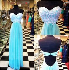 Backless blue prom dress