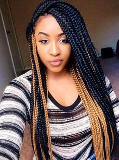 Honey blonde and black box braids