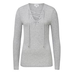 Viscose Rib Lace Up Tee. Comfortable yet neat fitting silhouette features a dipped v-neck with lace up front body and long sleeves in an all over fine rib fabrication. Available in Mid Grey Marle as shown.