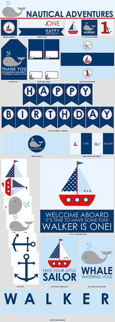 Nautical Adventures Birthday Party Printables  Mini by LiPPaperie, $10.00