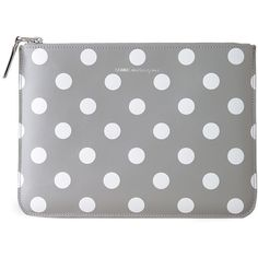 Comme des Garçons Large Zip Pouch ($195) ❤ liked on Polyvore featuring bags, handbags, clutches, purses, wallets, grey polka dots, leather oxfords, leather hand bags, handbag purse and leather zipper pouch