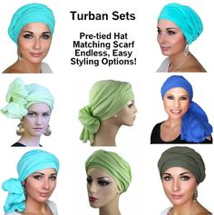 Soft, crinkled cotton gauze hat & head scarf set is perfect for day or evening wear. The Turban Set is a 2-piece set of a fitted hat & matching scarf. The hat is pre-tied, which means it is a comfortably fitted hat that completely covers your head. The hat fits so beautifully that it can