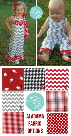 ALABAMA GAMEDAY FABRICS!  Custom-design any Lila & G outfit for your sweet girl or boy in any of our gameday fabrics!