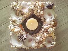 item 171 Square Southern Charm Seaside by SouthernCharmSeaside Seashell Centerpieces, Beach Wedding Centerpieces, Seashell Ornaments, Seashell Art, Seaside Shops, Decorative Storage Boxes, Have A Happy Day, Glass Candle Holders, Southern Charm