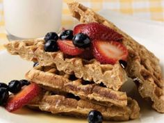 HEALTHY MULTI-GRAIN WAFFLES: Start your day (or your kid's day) in a healthy way with these crisp, nutty tasting waffles! They can be frozen and reheated in the toaster and served with maple syrup, warmed with sliced strawberries or peach slices, to infuse the flavor. The batter works for pancakes too.