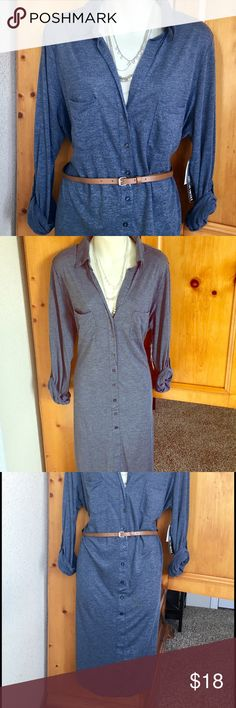 NWT ♦️LAST ONE! JERSEY KNIT SOFT PRO CASUAL DRESS 🌌JERSEY KNIT SUPER SOFT PRO CASUAL DRESS SIZES 12-14 OR 14-16 BLUISH GRAY COLOR kristen nicole Dresses