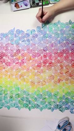 Watercolor Sashiko Pattern by Josie Lewis Click the link for free templates<br> Cool Pattern Designs, Cool Patterns, Patterns To Draw, Painting Patterns, Art Sketches, Art Drawings, Colorful Drawings, Abstract Pattern, Pattern Art