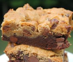 Brookies: chocolate brownie base with chocolate chip cookie topping!