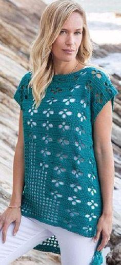 Free crochet teal layer top with longer back pattern chart Бирюзовый топ крючком Crochet Bodycon Dresses, Black Crochet Dress, Crochet Tunic, Crochet Clothes, Crochet Summer Tops, Crochet Tops, Crochet Woman, Top Pattern, Free Pattern