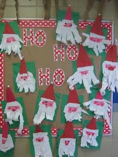 First Grade Blue Skies: Bulletin Board Linky Party Christmas Art Projects, Christmas Arts And Crafts, Santa Crafts, Preschool Christmas, Preschool Crafts, Christmas Themes, Kids Christmas, Holiday Crafts, Father Christmas