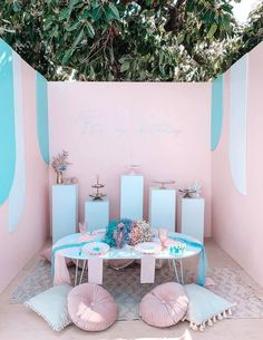 Turquoise and Pink Mermaid Birthday Party on Kara's Party Ideas | KarasPartyIdeas.com (26) Mermaid Party Decorations, Mermaid Parties, Mermaid Balloons, Mermaid Kids, Sprinkle Party, Birthday Party Themes, Surprise Birthday, Kid Table, Backdrops For Parties