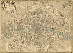 Old map of Paris, 1766.