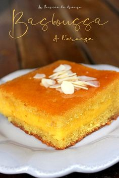 Basboussa with orange cream (Namoura) - Trend Christmas Cake 2019 Summer Dessert Recipes, Sweet Desserts, Orange Creme, Lebanese Recipes, Food To Make, Sweet Tooth, Bakery, Food And Drink, Tasty