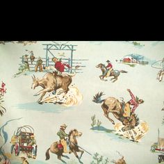 vintage cowboy fabric for shower curtain