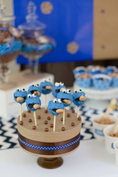 Boy's Sesame Street Cookie Monster Birthday Party Cake Pop Ideas