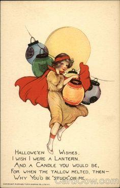 Halloween Wishes - Girl with Lanterns Samuel L. Schmucker