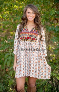 The Pink Lily Boutique - Boho Beauty Printed Dress , $38.00 (http://thepinklilyboutique.com/boho-beauty-printed-dress/)