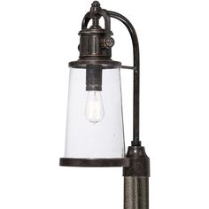 "Quoizel SDN9008 Steadman 1 Light 21"" Tall Post Lantern with Vintage Edison Bulb Imperial Bronze Outdoor Lighting Post Lights Hanging Post Lights"