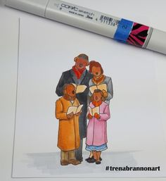 Day6 #thedailymarker30day. #copic coloring by #trenabrannonart image by #robertjackson #christmascarolling #christmas #family