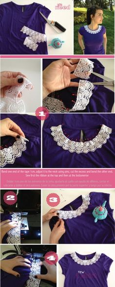 how to add a lace collar to a t-shirt.