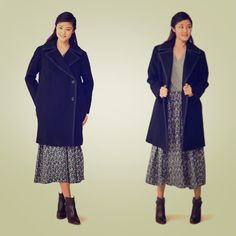 Like New Kate Spade Saturday oversized wool coat Halloween sale!!!Like new condition! Worn once only! . The whole coat is black with navy blue piping. The first pic shown the style of this coat. Very chic and can match any jeans and boots . Essentials for the coming fall winter. From Kate Spade Saturday. Very good wool quality with polyester lining. kate spade Jackets & Coats