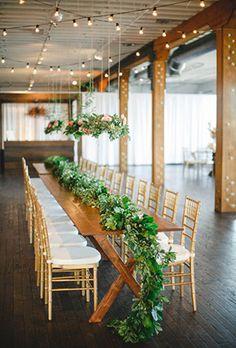 greenery rustic indoor wedding table ideas