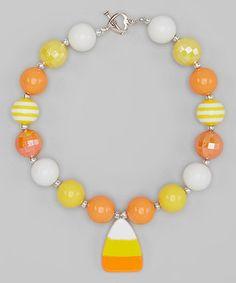 Look at this #zulilyfind! Orange & Yellow Candy Corn Necklace from Sweet Cheeks #zulilyfinds