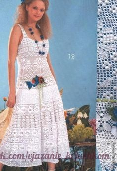 crochelinhasagulhas: Vestido branco em crochê filé